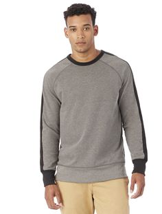 Alternative Apparel University Vintage French Terry Pullover Sweatshirt - Smoke & Porcelain 2X