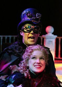 "El Gallo (Chad Bradford) mesmerizes Luisa (Jennifer Tritz) with his steampunk world in Nebraska Theatre Caravan's ""The Fantasticks,"" at Miller Auditorium March 14."