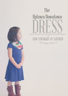 """The Uptown/Downtown Dress & Expansion Pack   Sizes 2yrs to 10yrs    This simple yet versatile A-line dress can be sewn to look semi formal, completely casual or somewhere in between. The jersey knit fabric recommendation gives a comfortable everyday feel to the dress, yet doesn't compromise on the """"pretty"""" factor that every little girl loves. The dress can be made with or without sleeves and I have designed two sleeve options for this pattern. I have also designed three additional options to ..."""