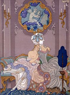 George Barbier - Bedroom scene from 'Les Liaisons Dangereuses' by Pierre Choderlos de Laclos (1741-1803) published 1920s (pochoir print)