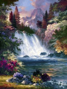 Buy inspirational Feng Shui vertical wall art painting Sunrise Falls by James Lee, which is available for sale in our water landscape paintings collection. This positive energy ready-to-hang stretched Fantasy Landscape, Landscape Art, Landscape Paintings, Fantasy Art, Beautiful Paintings, Beautiful Landscapes, Feng Shui Wall Art, Feng Shui Paintings, Waterfall Paintings