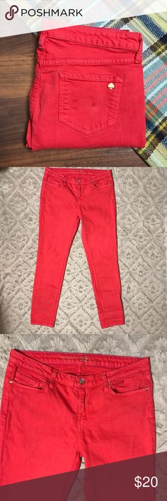 """Kate Spade Broome Street Red Skinny Slim Jeans 32 Kate Spade New York Broome Street Red Colored Skinny Slim Jeans SZ 32 x 30  *Very Worn Condition. Pants have slightly darker discoloration between folds of fabric, one spot on back pocket, inside info is peeling off. Please see pictures.  Measurements: 34"""" Waist 30"""" Inseam 9"""" Rise kate spade Jeans Skinny"""