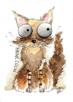 ACEO Original watercolor fine art painting illustration whimsical Maine Coon Cat #IllustrationArt