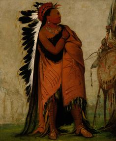 Eé-hee-a-duck-cée-a, He Who Ties His Hair Before by George Catlin kp