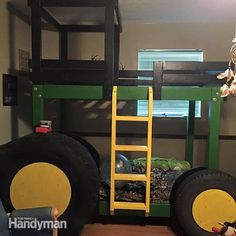 John Deere Bunk Bed 1 - For the die-hard John Deere fan, this tractor-inspired bunk bed has all the bells and whistles. Josh