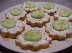 Cucumber Sandwiches - perfect for a tea party! They are even shaped like flowers!