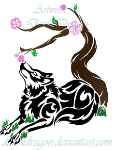 tribal wolves | Tribal Wolf and Cherry Blossom by DansuDragon