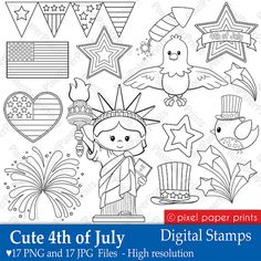 Cute 4th of July - Digital Stamps - Clipart