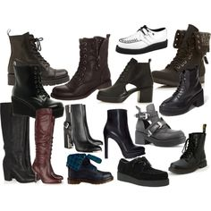 Designer Clothes, Shoes & Bags for Women 90s Shoes, October Fashion, Shoe Boots, Shoe Bag, Grunge, Deck, Walking, Polyvore, Baby