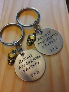 Hand Stamped Keychain Couples Keychains Zombie Apocalypse Partner Keychains by BlackWolfDesigns21, $17.99