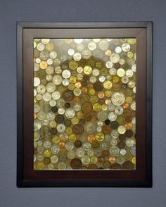 What to do with all those foreign coins you saved. Would look great in an office or library space