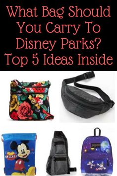Which bag do you carry to the parks, is a question that comes up often. Inside are 5 ideas of common park bags guests use. What is your favorite style bag to carry?