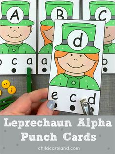 Leprechaun alphabet punch cards for letter recognition and fine motor development. Early Learning Activities, Motor Activities, Classroom Activities, Turkey Pattern, Michaels Craft, Flower Alphabet, Turkey Craft, Letter Recognition, Busy Bags