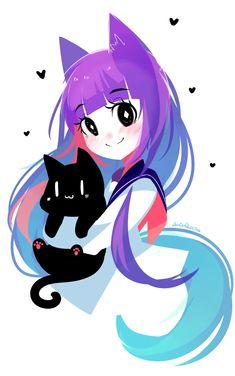 37 New Ideas For Wall Paper Anime Cute Original Art Anime Neko, Kawaii Anime, Chat Kawaii, Kawaii Art, Cute Art Styles, Cartoon Art Styles, Kawaii Drawings, Cute Drawings, Anime Art Girl