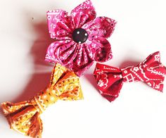 Red, Orange or Pink Bandana Bow Tie or Flower for Dogs and Cats