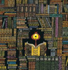 An alien in the library / Un alienígena en la biblioteca (ilustración de Lu Heaven)