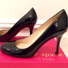 """Kate Spade black patent pumps Kate Spade black patent, round toe, pump. """"Karolina"""" style. Only worn twice, see soles of shoes. Patent leather is is perfect condition, no scuffs, no marks. 3 inch estimated heel. Not too high for work! Comes with original packing and original box. No dust cover sorry!! kate spade Shoes Heels"""