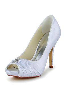 9da69a683fb Amazing Satin Upper Peep Toe Stiletto Heels Bridal Shoes With Rhinestones  Summer Heels