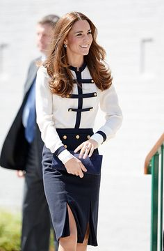 The Duchess of Cambridge made a visit to Bletchley Park on Thursday June 19th to visit the site where her grandmother worked during the war. Kate chose Alexander McQueen blouse and skirt for this engagement.