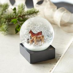 H And C Horse And Country HORSE COUNTRY SNOWGLOBE - Enjoy the serenity of two grazing horses ...