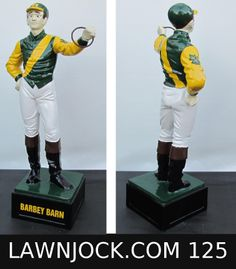 The traditional lawn jockey statue is taking back America's boring suburban neighborhoods one yard at a time.   Your lawn is next!   Want an REAL METAL jock professionally painted using 2 coats of high gloss enamel like this one shipped directly to your mansion in about 3 weeks?   Visit lawnjock.com for a price quote today and reference custom example #125.