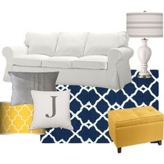 navy and yellow bedroom decor - love this color combination too
