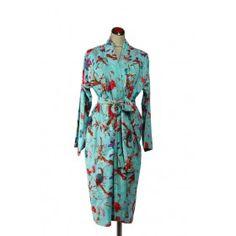 Kimono Bird Robe - Aqua