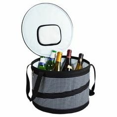 """Folding cooler with side handles.   Product: CoolerConstruction Material: Polyester and nylonColor: Black and whiteFeatures:  Thermal shield insulationIncludes clip on corkscrewDoor in lid for quick access to drinks Dimensions: 9"""" H x 6.75"""" Diameter"""