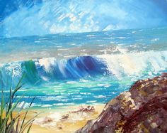 """Wave Painting"" Abstract Acrylic Painting on large canvas 36x47 $311.89"
