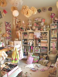 With my own Craft Room. or craft corner if there's not room. Craft Room Decor, Craft Room Storage, Craft Organization, Craft Rooms, Shabby Chic Crafts, Vintage Crafts, Space Crafts, Craft Space, Hobby Room
