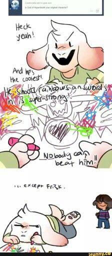 Lol Poor Asriel God of Hyperdeath has been defeated by The little Frisk Undertale Undertale, Undertale Comic Funny, Frisk, Steven Universe, Toby Fox, Underswap, Lol, Indie Games, Bad Timing
