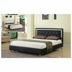 Black leather like vinyl tufted queen size headboard with crystal tufted design and rhinestone trim and chrome legs - Join the Pricefalls family - Pricefalls.com Online Marketplace & Stores