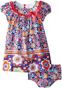 Bonnie Baby Baby Girls Multi Colored Floral Knit Dress Purple 18 Months ** Be sure to check out this awesome product. (This is an affiliate link) #BabyGirlDresses