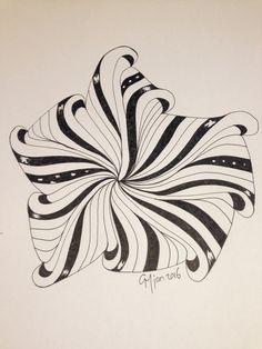 Aquafleur variation, Doodles Zentangles, Zentangle Patterns, Tangled Flower, Tangle Art, Doodle Inspiration, Zen Doodle, Crafts To Do, Line Drawing, Tribal Tattoos