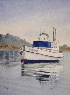 new zealand boat, watercolor demonstration  Part 2