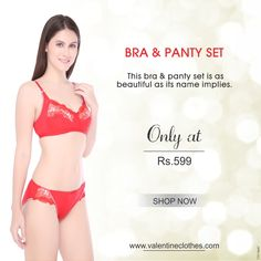 BRA & PANTY SET ONLY AT RS.599... This bra & panty set is as beautiful as its bane implies. #brapantyset #bra #panty #set #beautiful #only #women #girls #color #‎stylish‬ ‪#‎classy‬ ‪#‎trendy‬ ‪#‎colors‬ ‪#‎wearing‬ #valentine #clothes #valentineclothes