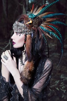 A photo of one of my headpieces for a collaborative editorial entitled 'Pagan Love Song' - Shunyata headdress. Celtic Goddess, Feather Headdress, Feather Crown, Hair Feathers, Bohemian Headpiece, Vintage Headpiece, Pheasant Feathers, Tribal Fusion, Headgear