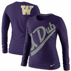 Nike Washington Huskies Ladies Angled Script Long Sleeve Tri-Blend T-Shirt - Purple