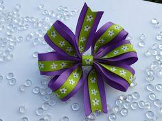 Medium Purple and Green 6 Loop Hair Bow by krapflgirl on Etsy, $3.50