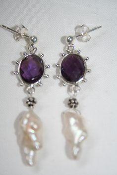 Zilveren oorbellen met Amethist en Keishi parels