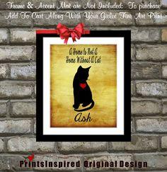 Custom Cat Art Print Gift: #Personalized #CatPortrait   #GiftForCatLover #PetArt #RusticWallDecor $18.99