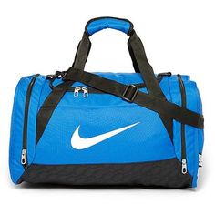 Nike Brasilia Small Duffle Bag ($30) ❤ liked on Polyvore featuring bags, game royal, blue bag, strap bag, zipper duffle bag, blue duffle bag and zip bags