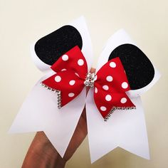 Beautiful Minnie Mouse ears cheer bow with little bow rhinestones and... (20 AUD) ❤ liked on Polyvore featuring cheer and disney