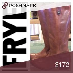"Frye 'Melissa Button' Leather Riding Boots Button-accented pull tabs top a handcrafted riding boot fashioned from fine, hand-burnished leather for a marbled, vintage look. Bench-crafted by hand, Frye's 150-year-old heritage of quality leatherwork is evident in every detail. 1"" heel  15"" boot shaft; 14 1/2"" calf circumference. Pull-on style. Foam-cushioned midsole. Natural hide variations and markings contribute to the custom look of each boot.  Gently used. Leather is in great shape. Crease…"