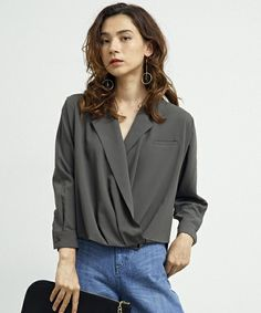 【ZOZOTOWN|送料無料】UNITED TOKYO(ユナイテッドトウキョウ)のシャツ/ブラウス「マルチウェイカシュクールブラウス」(506304010)を購入できます。 Blouse Dress, Jessie, Chiffon, Long Sleeve, Sleeves, Shirts, Tops, Dresses, Women
