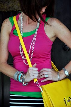 Love this outfit - going to have to recreate it! :) Tanks from Old Navy, skirt from Target - I have the short version of this skirt.    This lady's blog is AWESOME (Click the pic to go to it).    Necklace: La Coco Curb Chain (Silver) - ON SALE    Bracelet (right arm): Bardot Spiral Bangle (Silver)  Lindsay Bangle (Turquoise)  Garbo Link Bracelet (Silver)    Order from my stylist site: http://www.stelladot.com/sites/tcole