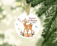 Baby First Christmas Ornament, Babies First Christmas, Christmas Ornaments, Woodland, Holiday Decor, Home, Xmas Ornaments, Christmas Jewelry, Christmas Ornament