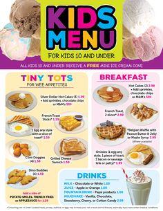 Valley Dairy Restaurants: Kids Menu Hotel Menu, Menu Restaurant, Valley Dairy, Mini Ice Cream Cones, Kids Restaurants, Kids Cafe, Kids Menu, Flyer Layout, Kids Board