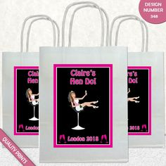 CUSTOMISABLE BACHELORETTE  BRIDE TO BE COCKTAIL GLASS PARTY BAGS GIFT BAG
