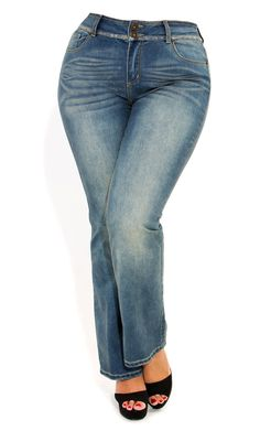 City Chic - SOFT WASH BOOTLEG JEAN - Women's plus size fashion